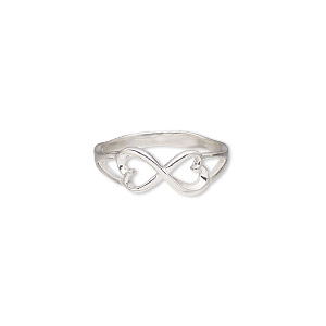 ring, sterling silver, 7.5mm wide with infinity heart design, size 9. sold individually.