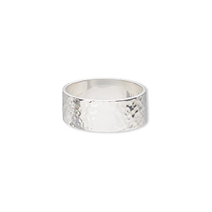 ring, sterling silver, 8.5mm wide with hammered design, size 9. sold individually.