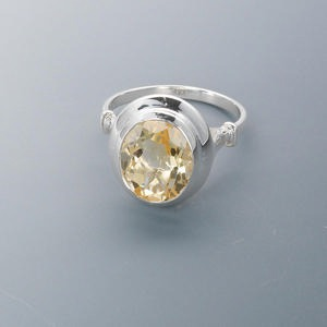 ring, sterling silver and citrine (heated), 11x9mm faceted oval, size 7. sold individually.