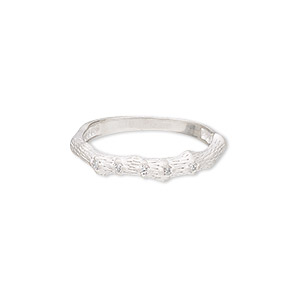 ring, sterling silver and cubic zirconia, clear, 4mm wide with matte-finished bamboo design, size 9. sold individually.