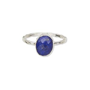 ring, sterling silver and lapis lazuli (natural), 10x8mm faceted oval, size 9. sold individually.