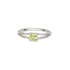 ring, sterling silver and peridot (natural), 4mm faceted round, size 7. sold individually.