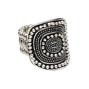 ring, stretch, antique silver-plated pewter (zinc-based alloy), 25x22mm beaded curved oval. sold individually.