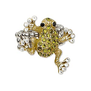 ring, stretch, glass rhinestone and antique imitation rhodium-plated pewter (zinc-based alloy), green / clear / black, 26x26mm frog. sold individually.