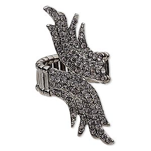ring, stretch, glass rhinestone and gunmetal-plated pewter (zinc-based alloy), grey, 54x20mm wings. sold individually.