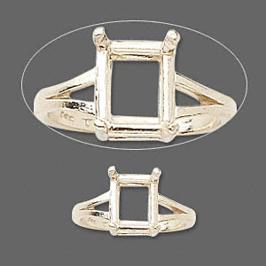 ring, sure-set™, 14kt gold, 10x8mm 4-prong emerald-cut basket setting, size 7. sold individually.
