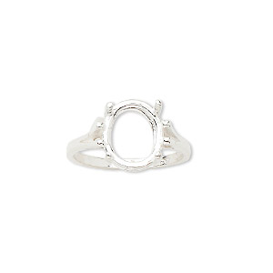 ring, sure-set™, sterling silver, 12x10mm 4-prong oval basket setting, size 7. sold individually.