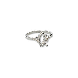 ring, sure-set™, sterling silver, 12x6mm 4-prong marquise basket setting, size 8. sold individually.