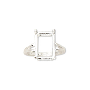 ring, sure-set™, sterling silver, 14x10mm 4-prong emerald-cut basket setting, size 7. sold individually.