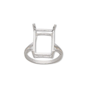 ring, sure-set™, sterling silver, 16x12mm 4-prong emerald-cut basket setting, size 7. sold individually.