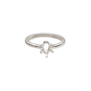 ring, sure-set™, sterling silver, 7x5mm 6-prong oval basket setting, size 6. sold individually.
