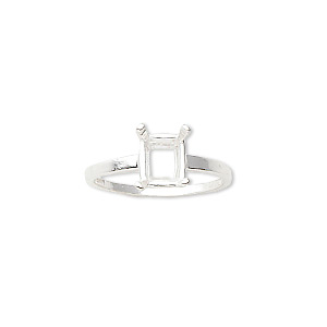 ring, sure-set™, sterling silver, 8x6mm 4-prong emerald-cut basket setting, size 7. sold individually.
