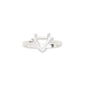 ring, sure-set™, sterling silver, 8x8x8mm 6-prong triangle basket setting, size 7. sold individually.