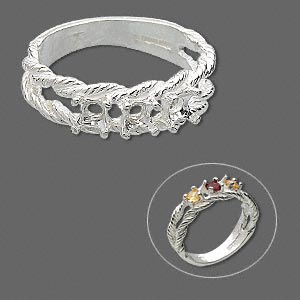 ring, sure-set™, sterling silver, braided band with (3) 3.5mm 4-prong round settings, size 8. sold individually.