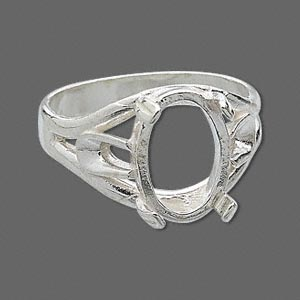 ring, sure-set™, sterling silver, branch-style band with 14x10mm oval cabochon setting, 4 prong, size 10. sold individually.