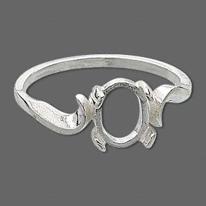 ring, sure-set™, sterling silver, swirl band with 8x6mm 4-prong oval setting, size 8. sold individually.