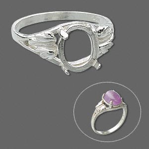 ring, sure-set™, sterling silver, two-leaf band with 10x8mm 4-prong oval setting, size 6. sold individually.