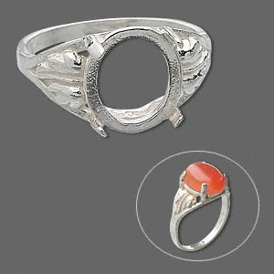 ring, sure-set™, sterling silver, two-leaf band with 12x10mm 4-prong oval setting, size 6. sold individually.