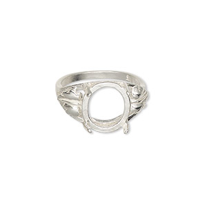 ring, sure-set™, sterling silver, two-leaf band with 12x10mm 4-prong oval setting, size 7. sold individually.