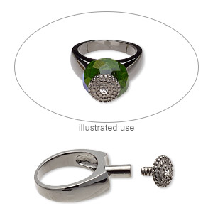 ring, swarovski crystals and gunmetal-plated brass, crystal clear, 7.5mm wide with beaded design and 8mm post with twist-off top, size 8. sold individually.