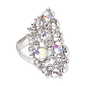 ring, swarovski crystals and imitation rhodium-plated pewter (zinc-based alloy), crystal clear and crystal ab, 37mm wide with fancy oval and cutout design, size 8. sold individually.