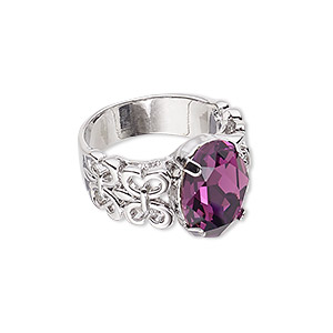 ring, swarovski crystals and imitation rhodium-plated pewter (zinc-based alloy), amethyst, 14mm wide with oval and cutout design, size 8. sold individually.