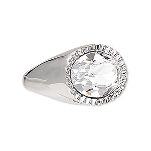 ring, swarovski crystals and rhodium-plated pewter (zinc-based alloy), crystal clear, 23x18mm oval, size 10. sold individually.