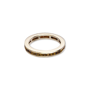ring, tigereye (natural) and gold-finished sterling silver, 4mm wide, size 10. sold individually.