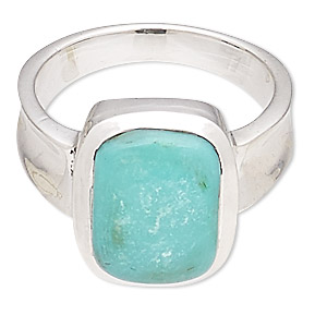 ring, turquoise (stabilized) and sterling silver, 14x10mm rectangle, size 7-8. sold individually.