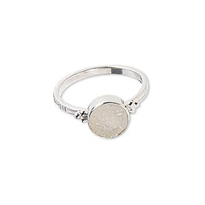ring, white druzy agate (natural) and sterling silver, 9mm round with 8mm round, size 7-1/2 to 8. sold individually.