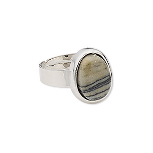 ring, zebra jasper (natural) with silver-plated steel and pewter (zinc-based alloy), 16x13mm-17x14mm oval, adjustable from size 5-9. sold individually.