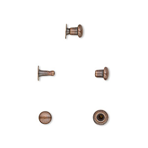 rivet, tierracast, antique copper-plated brass, 5x4.5mm with 2.4mm shank and 1.5mm inside diameter, fits up to 2.5mm hole. sold per pkg of (10) 2-piece sets.