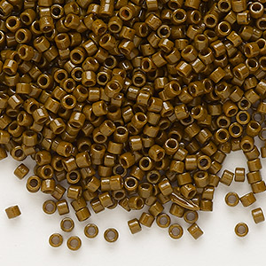 seed bead, delica, duracoat opaque dark brown, (db2142), #11 round. sold per 7.5-gram pkg.