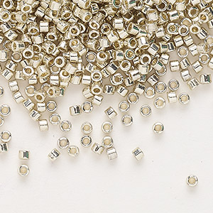 seed bead, delica, duracoat opaque galvanized silver, (db1831), #11 round. sold per 7.5-gram pkg.