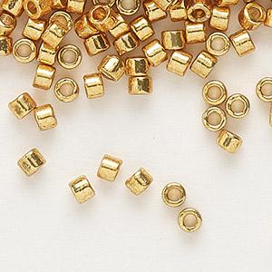 seed bead, delica, duracoat opaque galvanized yellow gold, (db1833), #11 round. sold per 7.5-gram pkg.