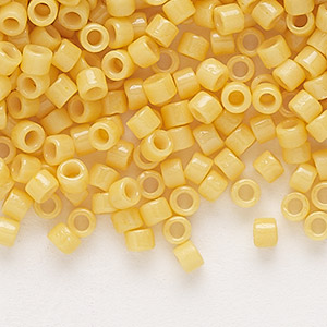 seed bead, delica, duracoat opaque light yellow, (db2102), #11 round. sold per 7.5-gram pkg.