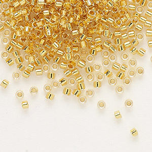 seed bead, delica, glass, 24kt gold-lined crystal, (db33), #11 round. sold per 50-gram pkg.