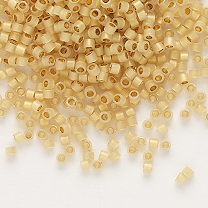 seed bead, delica, glass, 24kt gold-lined opal, (db230), #11 round. sold per 4-gram pkg.