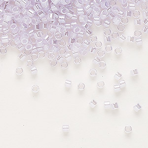 seed bead, delica, glass, ceylon color-lined light lilac, (db241), #11 round. sold per 250-gram pkg.
