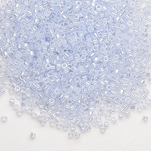seed bead, delica, glass, ceylon color-lined silver blue, (db257), #11 round. sold per 50-gram pkg.