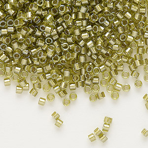 seed bead, delica, glass, color-lined chartreuse, (db908), #11 round. sold per 250-gram pkg.