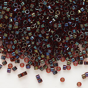 seed bead, delica, glass, color-lined chocolate cherry, (db297), #11 round. sold per 50-gram pkg.