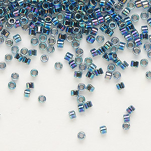 seed bead, delica, glass, color-lined dark blue, (db85), #11 round. sold per 7.5-gram pkg.