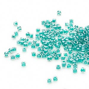 seed bead, delica, glass, color-lined dark turquoise blue, (db918), #11 round. sold per 50-gram pkg.