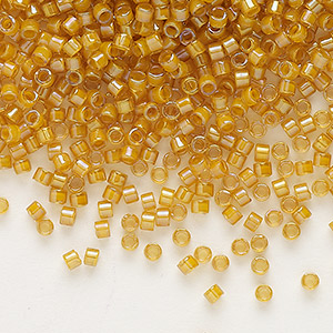 seed bead, delica, glass, color-lined gold, (db272), #11 round. sold per 250-gram pkg.