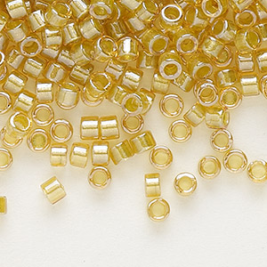seed bead, delica, glass, color-lined light mustard, (db911), #11 round. sold per 7.5-gram pkg.