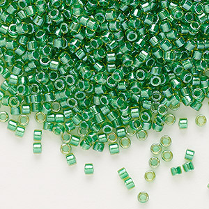 seed bead, delica, glass, color-lined lime, (db916), #11 round. sold per 50-gram pkg.
