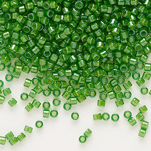 seed bead, delica, glass, color-lined lime green, (db274), #11 round. sold per 7.5-gram pkg.