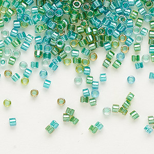 seed bead, delica, glass, color-lined mix aqua and teal, (db984), #11 round. sold per 250-gram pkg.