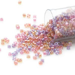 seed bead, delica, glass, color-lined mix purple and salmon, (db982), #11 round. sold per 7.5-gram pkg.